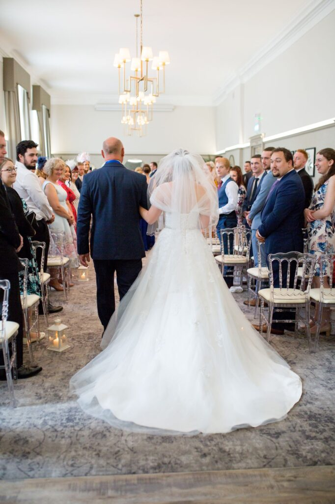 bride father of bride aisle walk de vere beaumont hotel windsor oxfordshire wedding photography