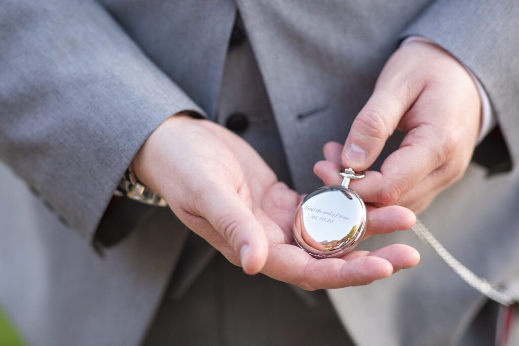 grooms pocket watch hanbury manor ware hertfordshire oxford wedding photographer