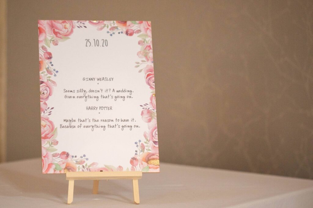 harry potter wedding breakfast sign hanbury manor ware hertfordshire oxfordshire wedding photographer