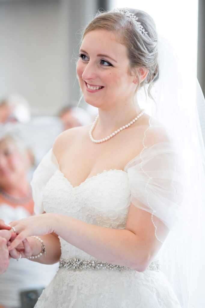 smiling bride marriage ceremony de vere beaumont hotel windsor oxford wedding photography