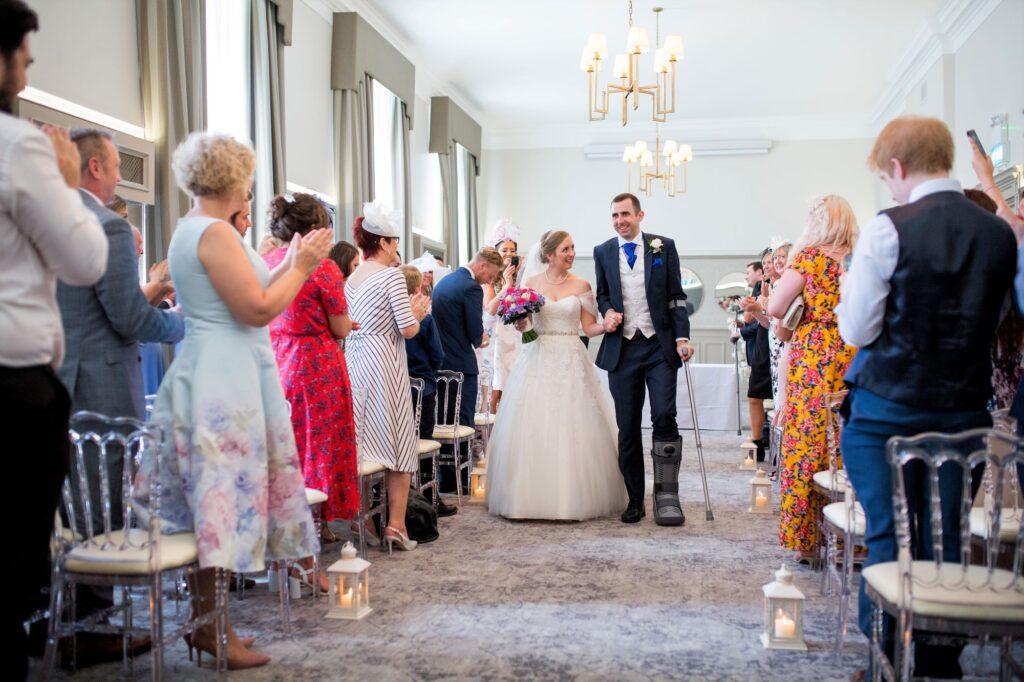 bride groom aisle walk de vere beaumont hotel windsor oxford wedding photographer