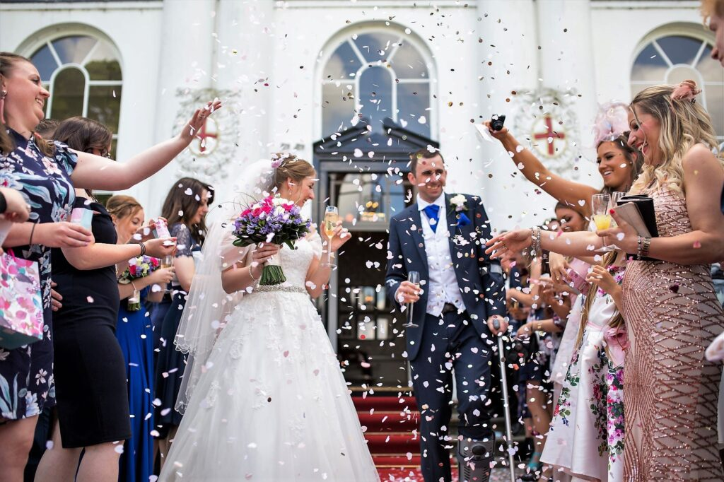 bride grooms confetti shower de vere beaumont hotel windsor oxford wedding photography