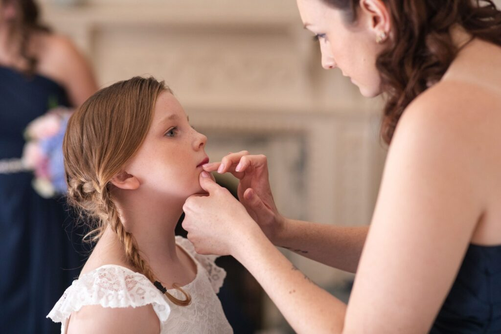 flower girls lips makeup bridal prep hanbury manor ware hertfordshire oxford wedding photographers