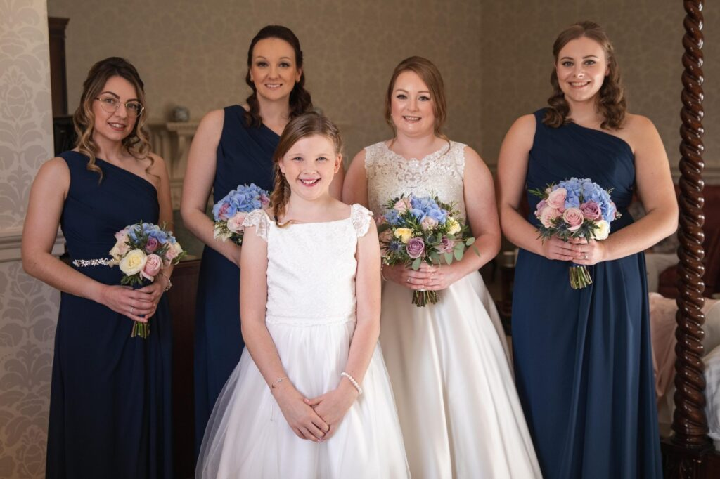 bride bridesmaids flower girl bouquets bridal prep hanbury manor ware hertfordshire oxfordshire wedding photographer
