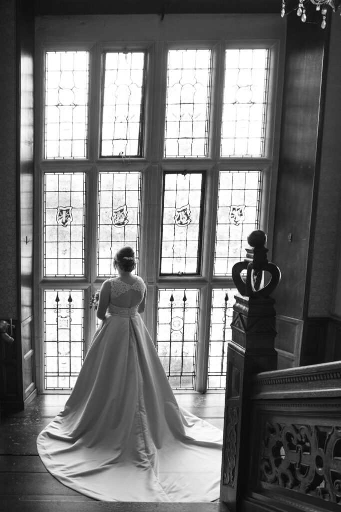 bride displays gown hanbury manor ware hertfordshire oxfordshire wedding photographers