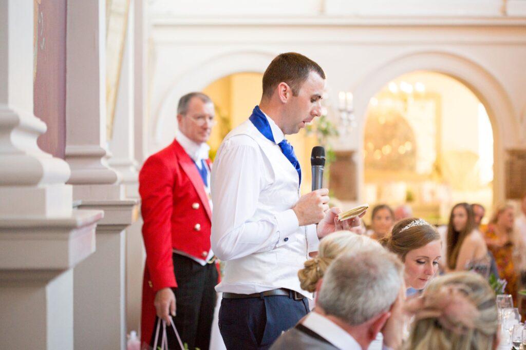 guests hear grooms speech de vere beaumont hotel windsor oxfordshire wedding photography
