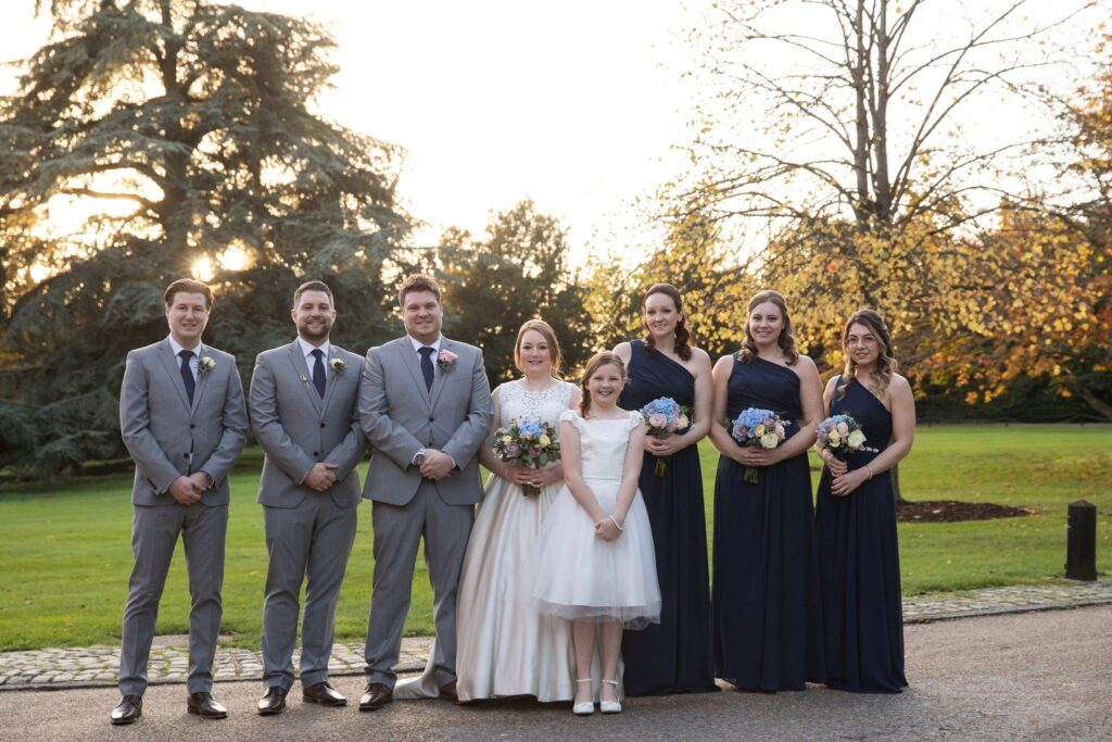 bridal party formal portrait hanbury manor ware hertfordshire oxford wedding photography