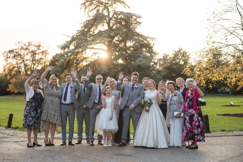 waving bridal party hanbury manor ware hertfordshire oxfordshire wedding photographer