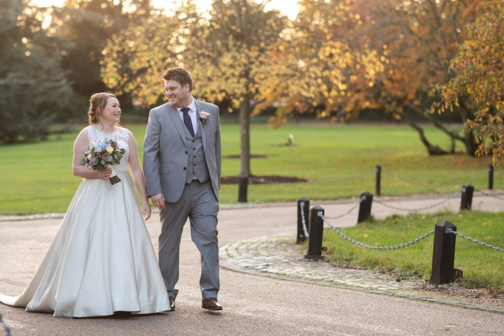 bride groom sunset stroll hanbury manor grounds ware hertfordshire oxfordshire wedding photographers