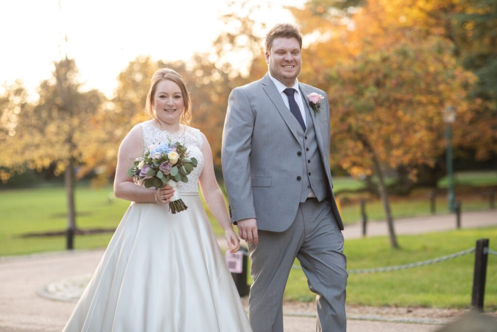 smiling bride groom enjoy sunset hanbury manor gardens ware hertfordshire oxfordshire wedding photography