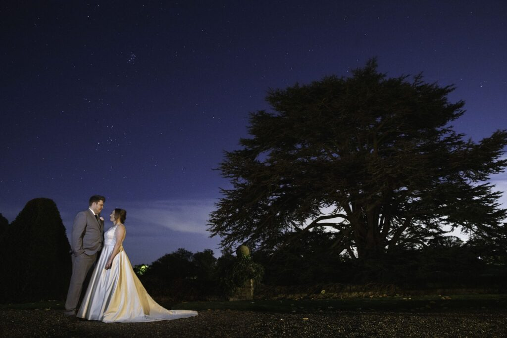 bride groom romantic starry night moment hanbury manor grounds ware hertfordshire oxford wedding photography