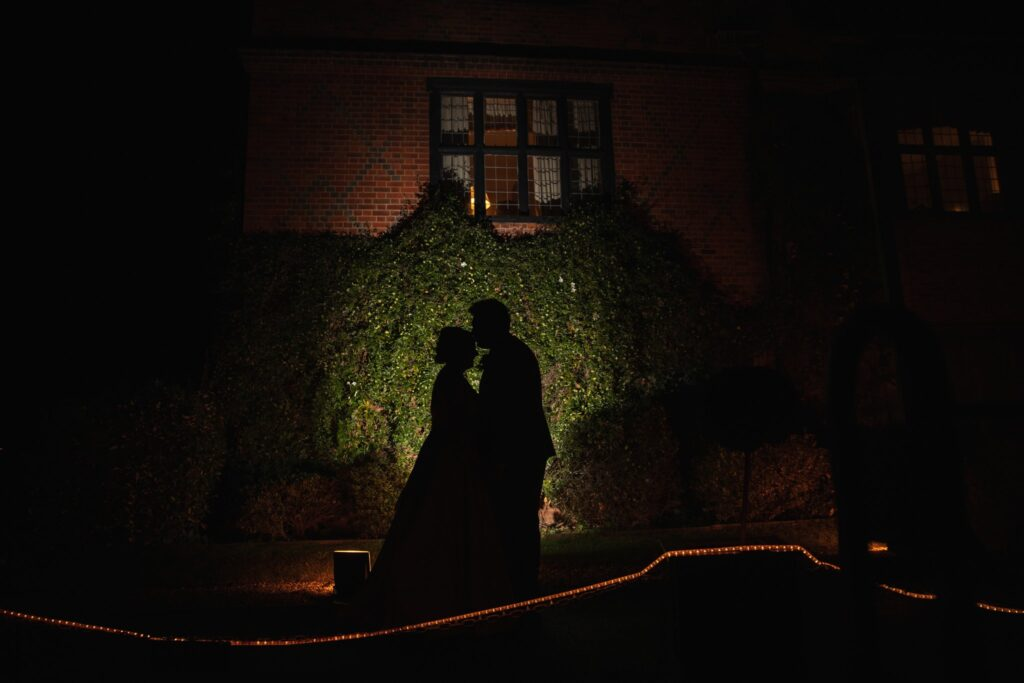 bride groom silhouette embrace hanbury manor gardens ware hertfordshire oxfordshire wedding photographer