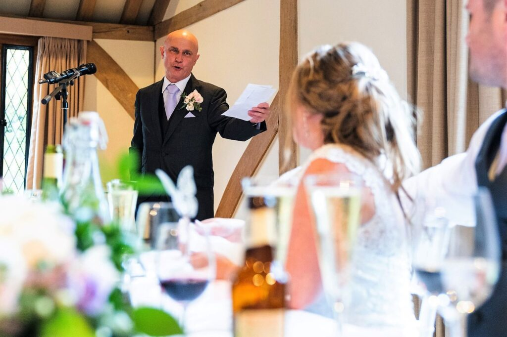 bride groom hear father of bride speech cain manor hampshire oxfordshire wedding photographer