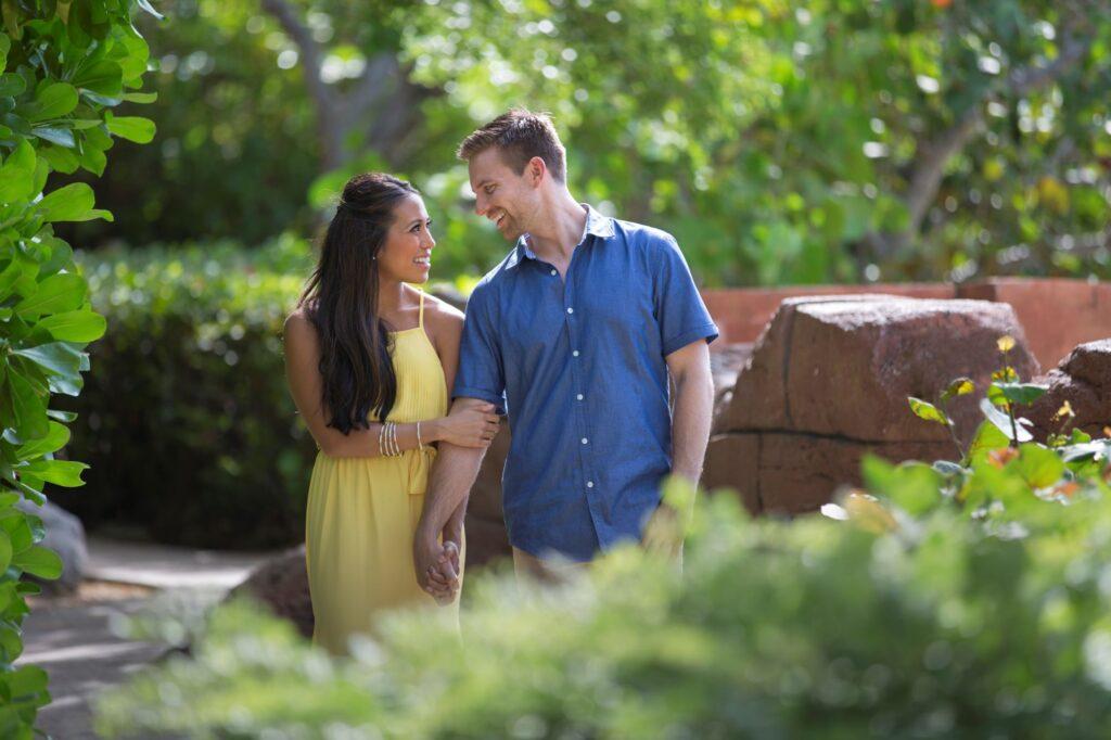 smiling engaged couple atlantis hotel paradise island nassau bahamas
