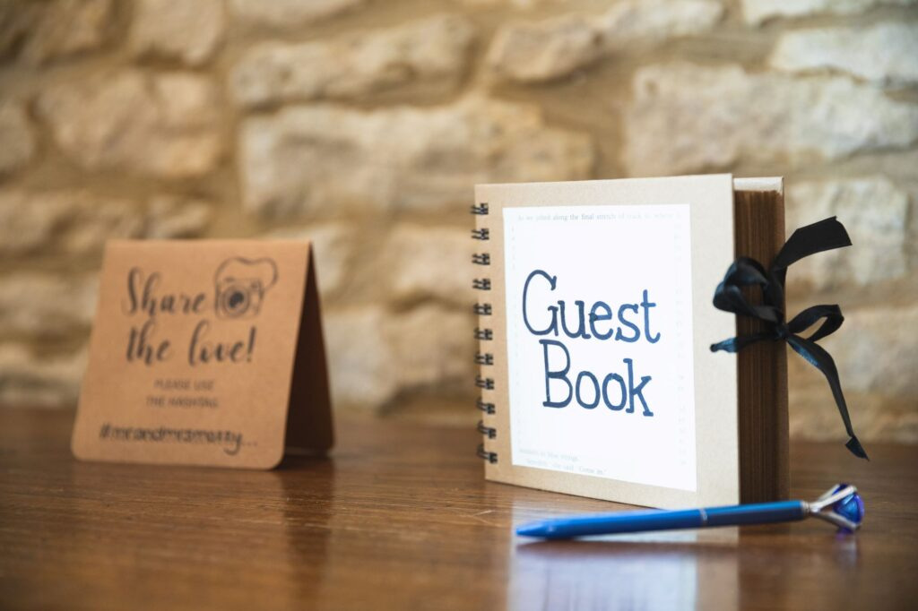 guest book caswell house venue oxford wedding photography