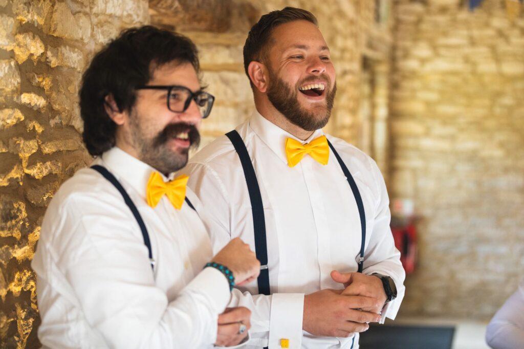 laughing groomsmen micro wedding breakfast caswell house oxfordshire wedding photographer