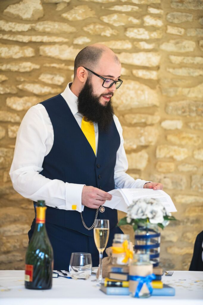 grooms speech caswell house venue oxfordshire wedding photography