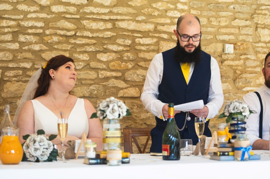 bride hears grooms speech caswell house venue oxford wedding photographers
