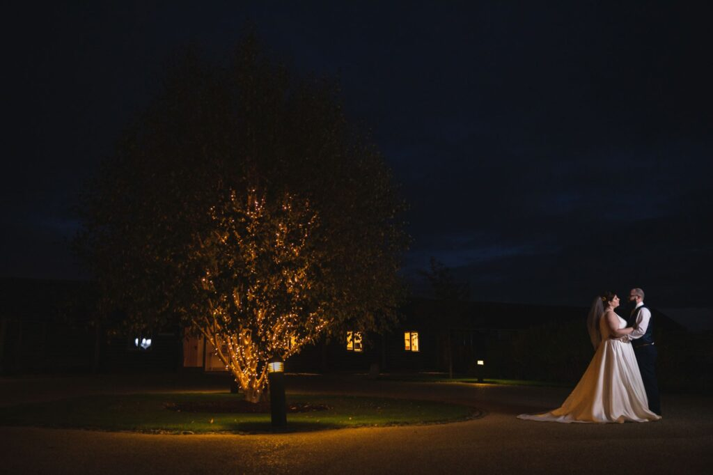 bride groom twilight embrace caswell house venue oxfordshire wedding photography