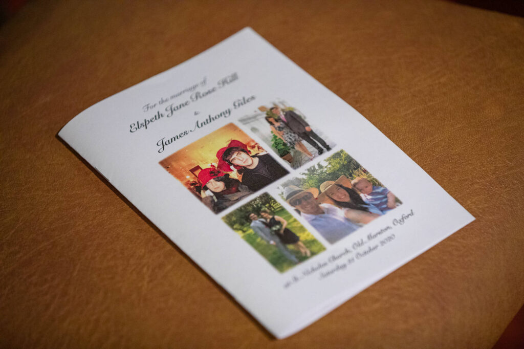 order of service cover st nicholas church old marston oxfordshire wedding photographer