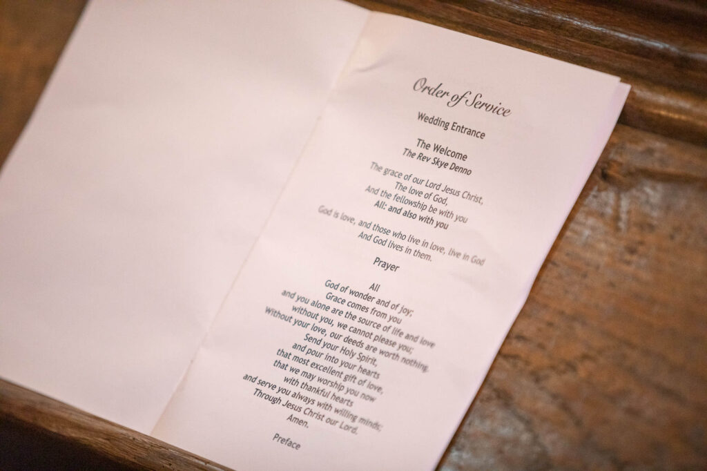 order of service st nicholas church micro weddingold marston oxfordshire wedding photography