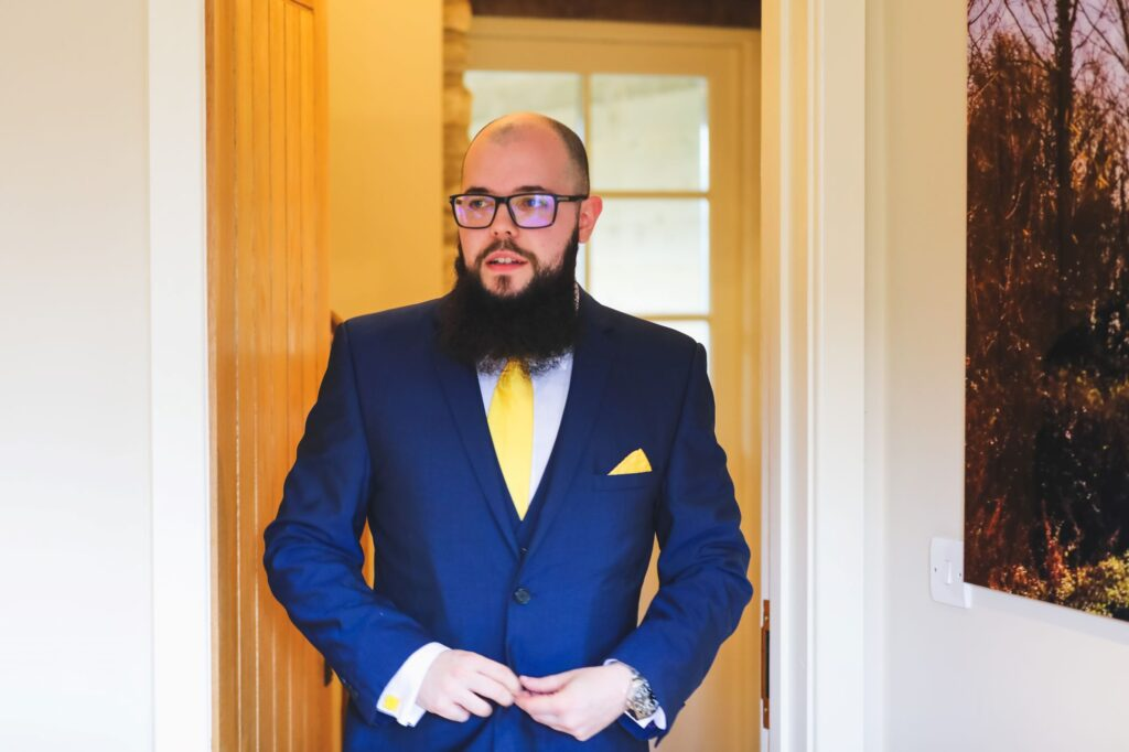 groom buttons suit caswell house venue oxford wedding photography