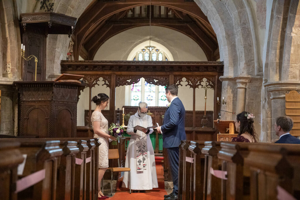 bride groom vicar guest covid ceremony st nicholas church old marston village oxford wedding photography
