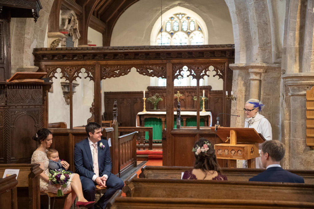 vicar reads service covid marriage ceremony st nicholas church oxfordshire wedding photographer