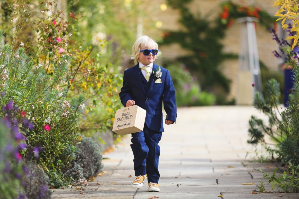 pageboy carries rings caswell house ceremony oxford wedding photography