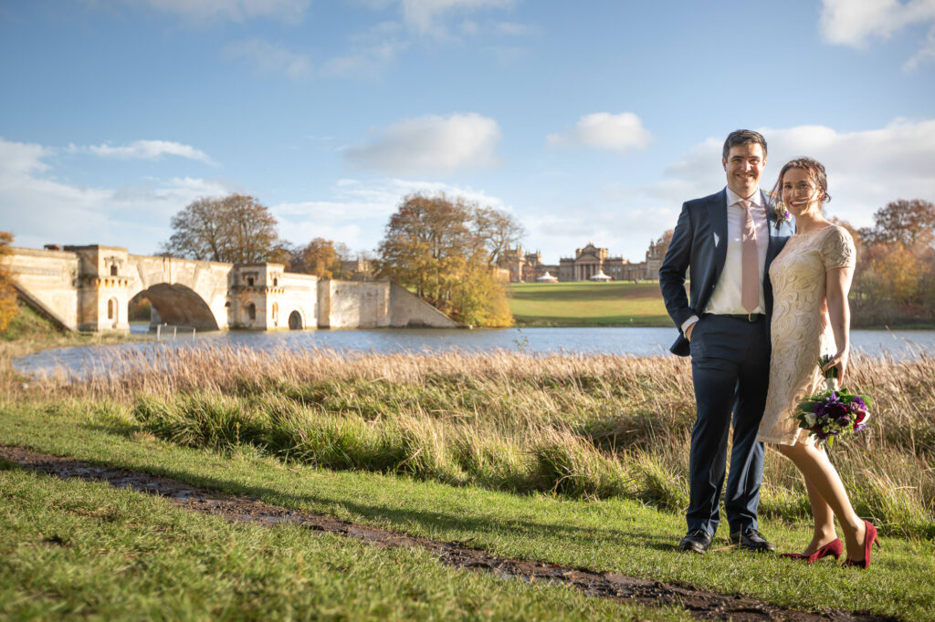 bride groom blenheim palace lake portrait woodstock oxfordshire wedding photography