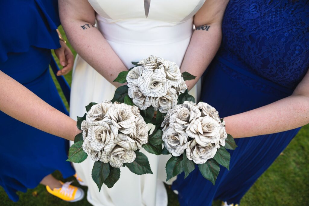 bride bridesmaids silk flower bouquets caswell house venue oxfordshire wedding photography