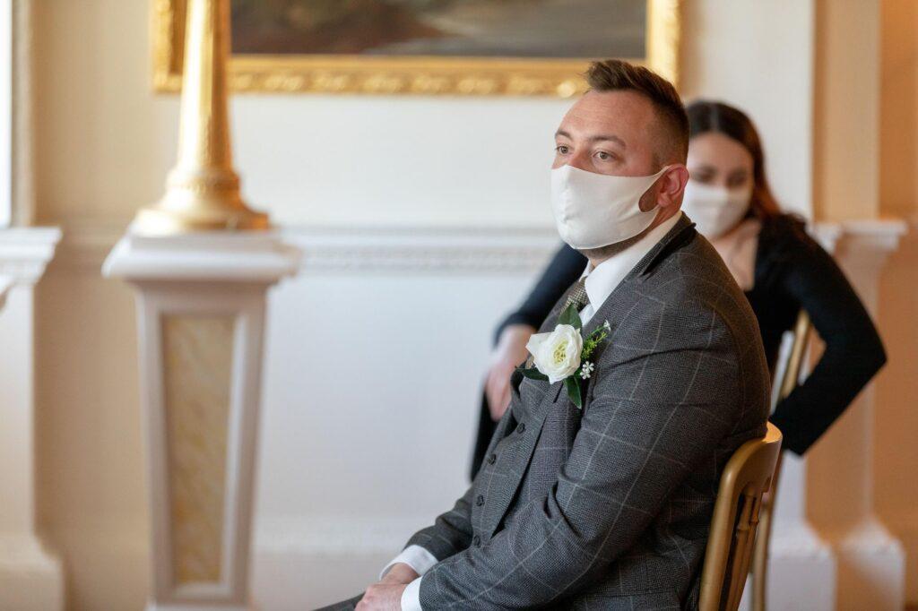 covid masked bestman awaits bride danson house ceremony bexleyheath oxfordshire wedding photography