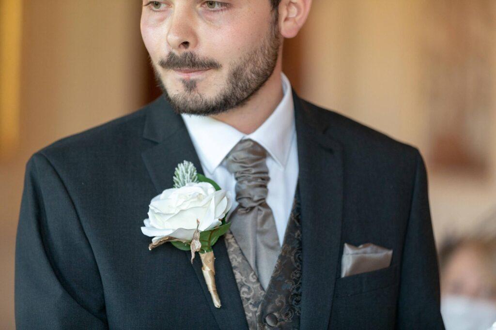 grooms white rose corsage portrait danson house bexleyheath oxfordshire wedding photographers