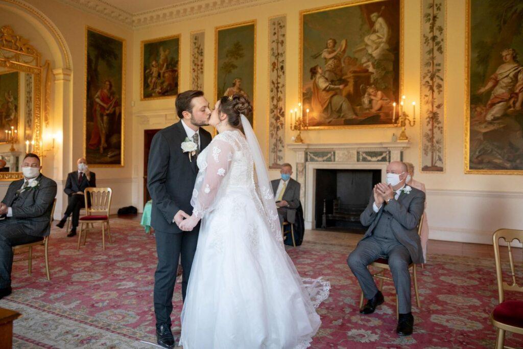 bride groom first kiss danson house ceremony bexleyheath london oxford wedding photographer