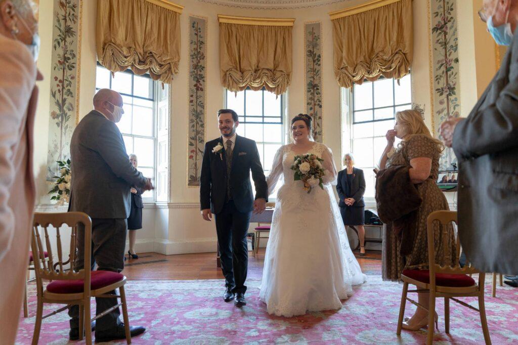 smiling bride groom aisle walk danson house ceremony bexleyheath oxford wedding photography