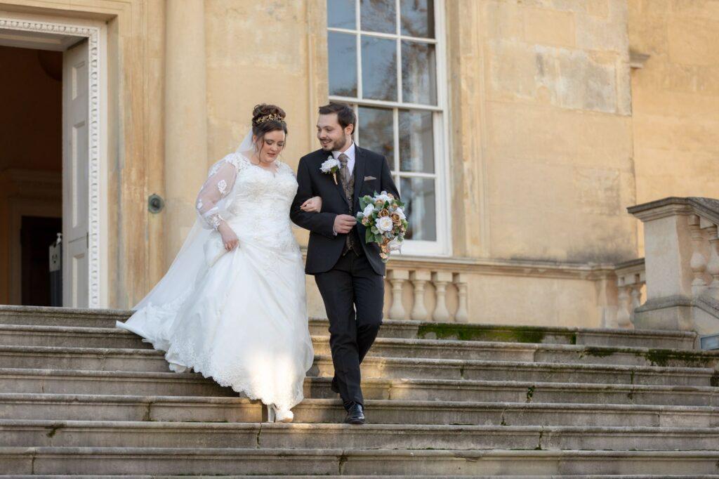 bride groom descend danson house registry office steps bexleyheath oxford wedding photographer