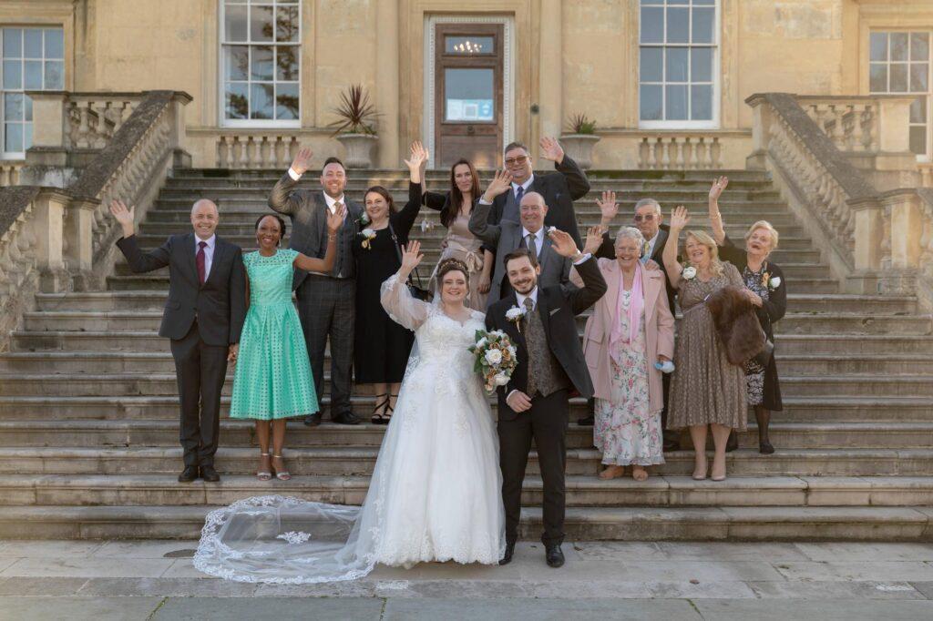 waving bride groom guest danson house steps bexleyheath oxford wedding photography