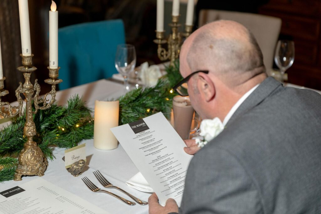 guest reads wedding breakfast menu the manor at bickley bromley oxford weddding photography
