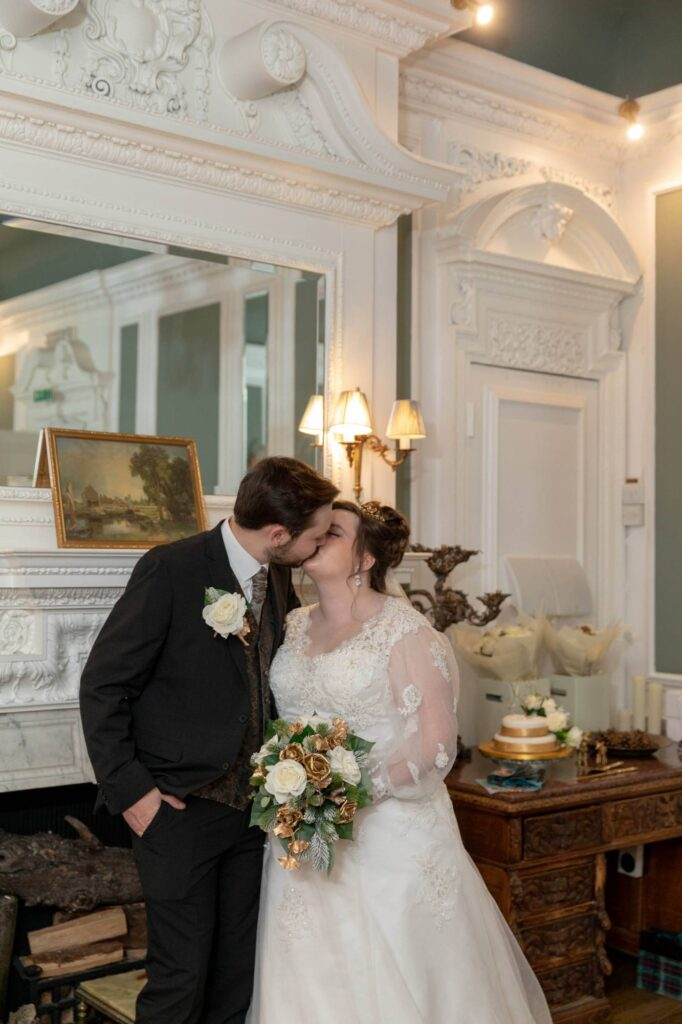 bride groom kiss wedding breakfast the manor at bickley bromley oxfordshire wedding photographer