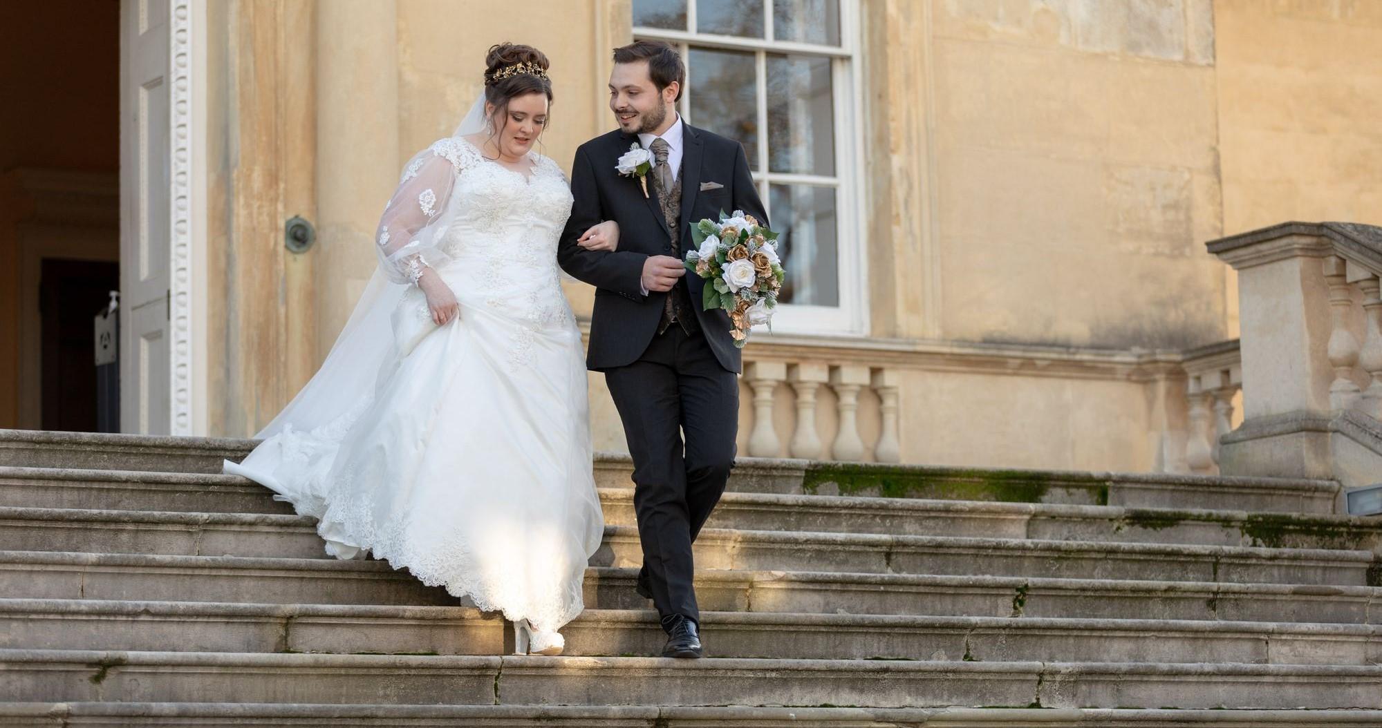 bride groom descend registry office steps bexleyheath oxford wedding photographer