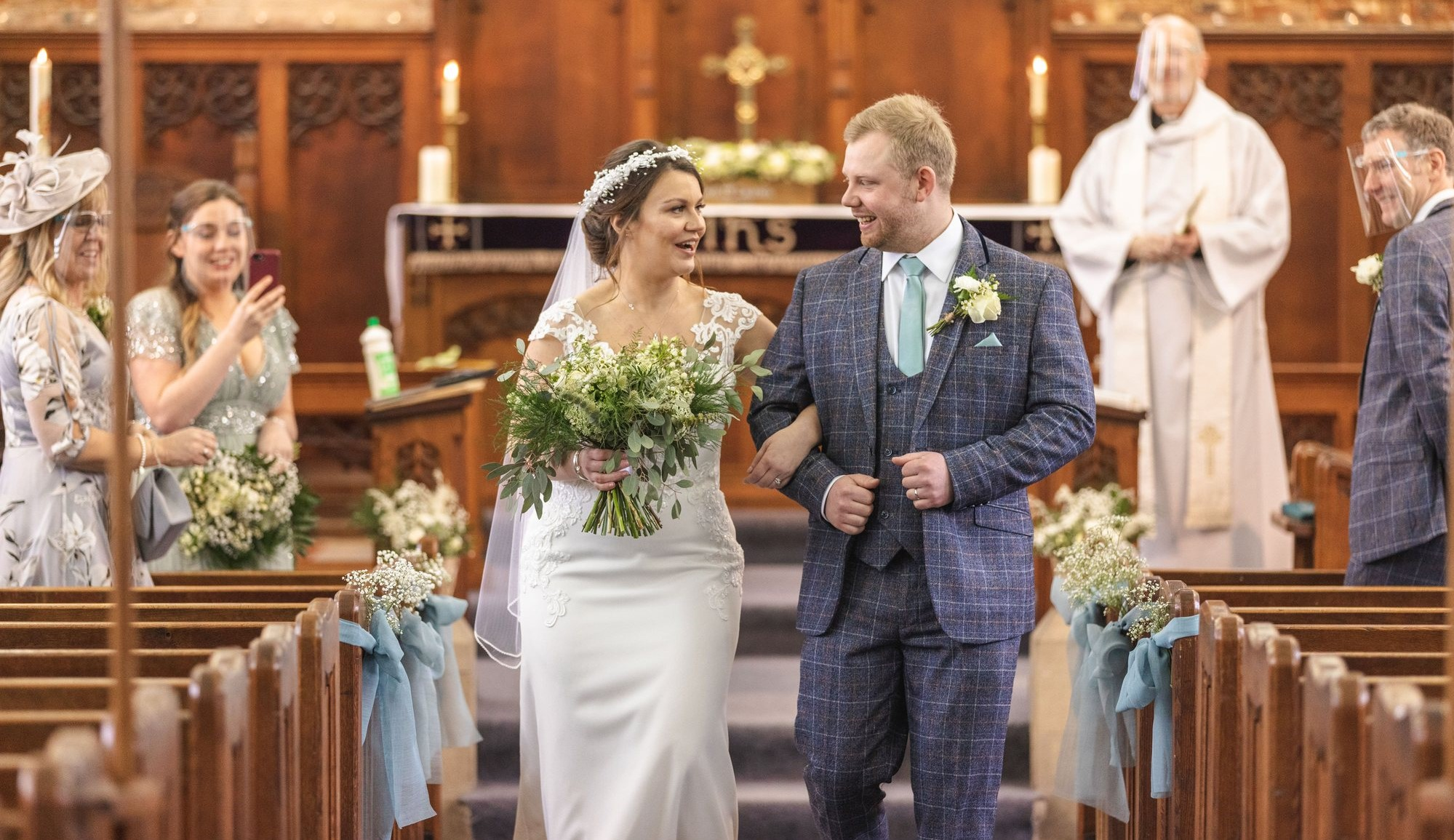 bride and groom aisle walk west yorkshire wedding st johns church rishworth oxfordshire wedding photography