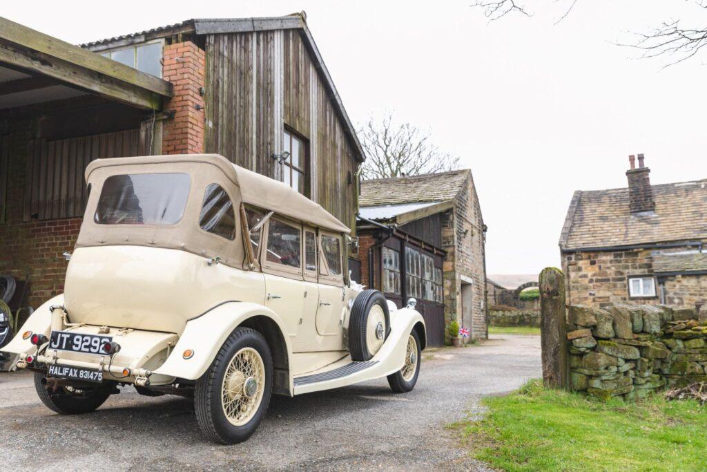 vintage bridal car west yorkshire wedding rishworth sowerby bridge oxford wedding photographer
