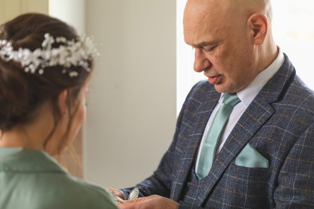 father of bride receives pocket watch gift rishworth sowerby bridge marriage oxfordshire wedding photography