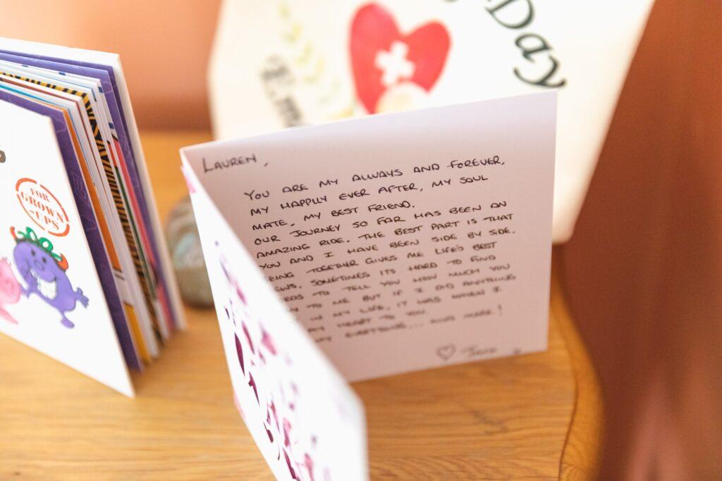 grooms message card to bride west yorkshire wedding rishworth sowerby bridge oxfordshire wedding photography