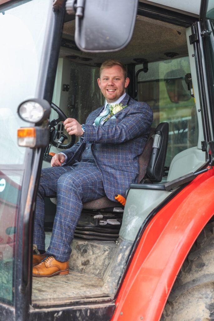 groom takes tractor driving seat west yorkshire wedding rishworth sowerby bridge oxford wedding photography