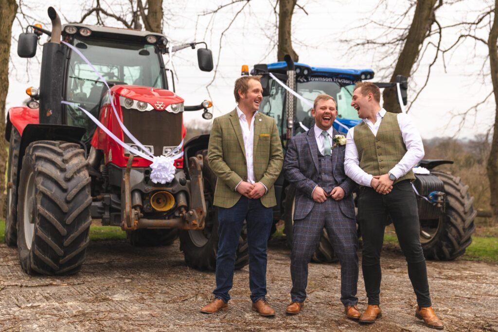 laughing groom groomsmen share joke west yorkshire wedding rishworth oxfordshire wedding photography