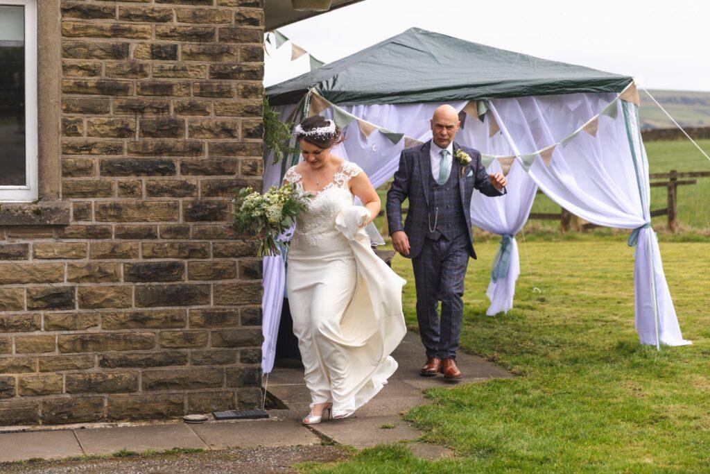 bride father of bride depart for st johns church rishworth ceremonyoxford wedding photographer
