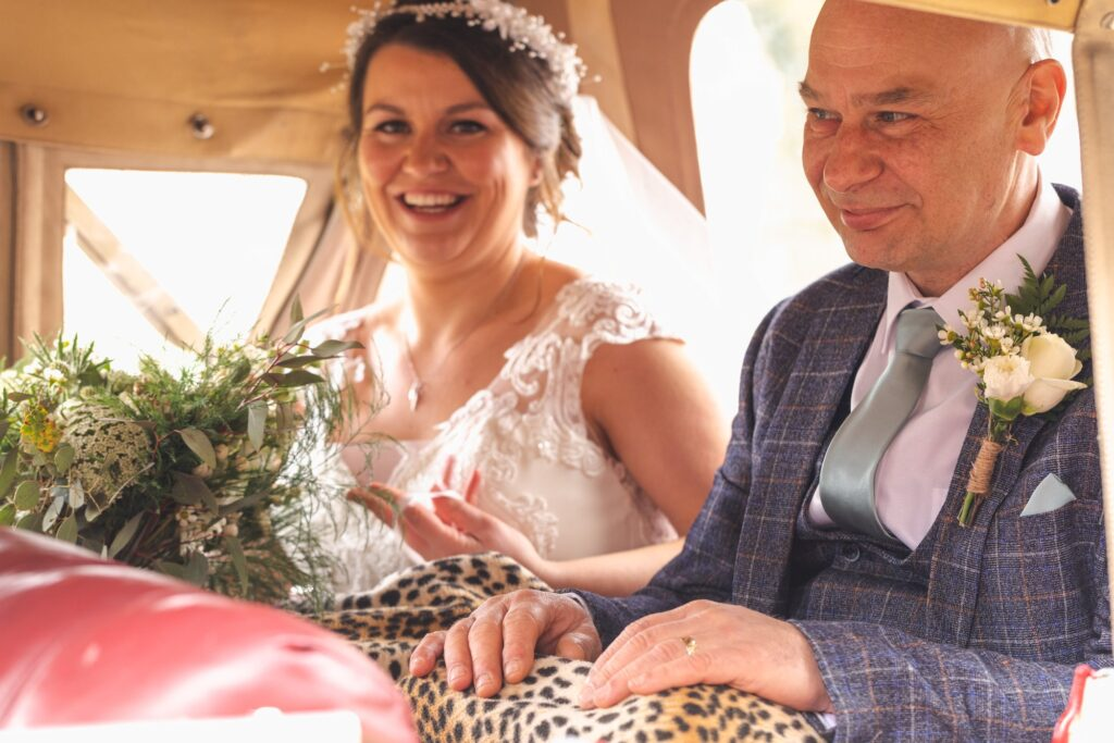 bride father of bride seated in bridal car west yorkshire wedding rishworth oxfordshire wedding photographer