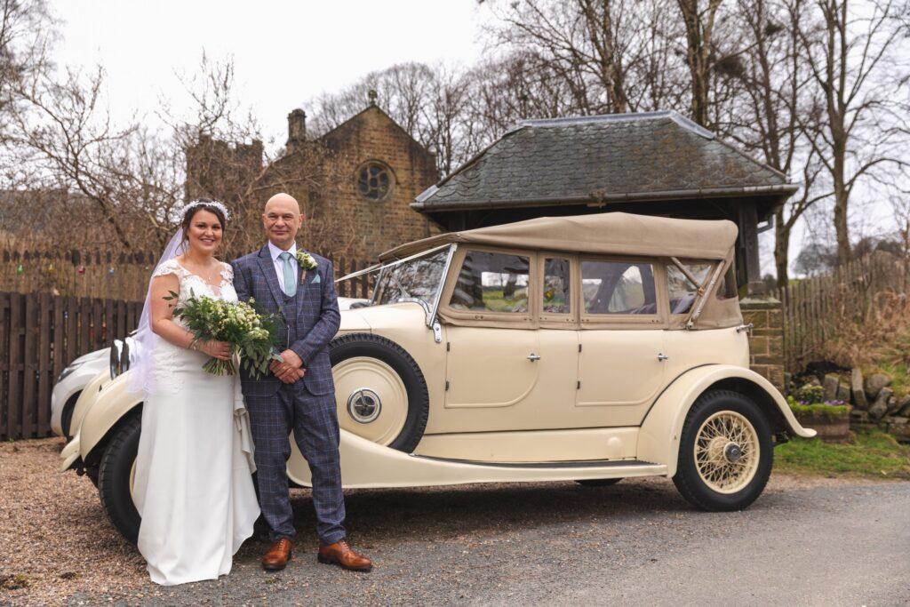 bride father of bride traditional bridal car portrait st johns church rishworth oxford wedding photographer