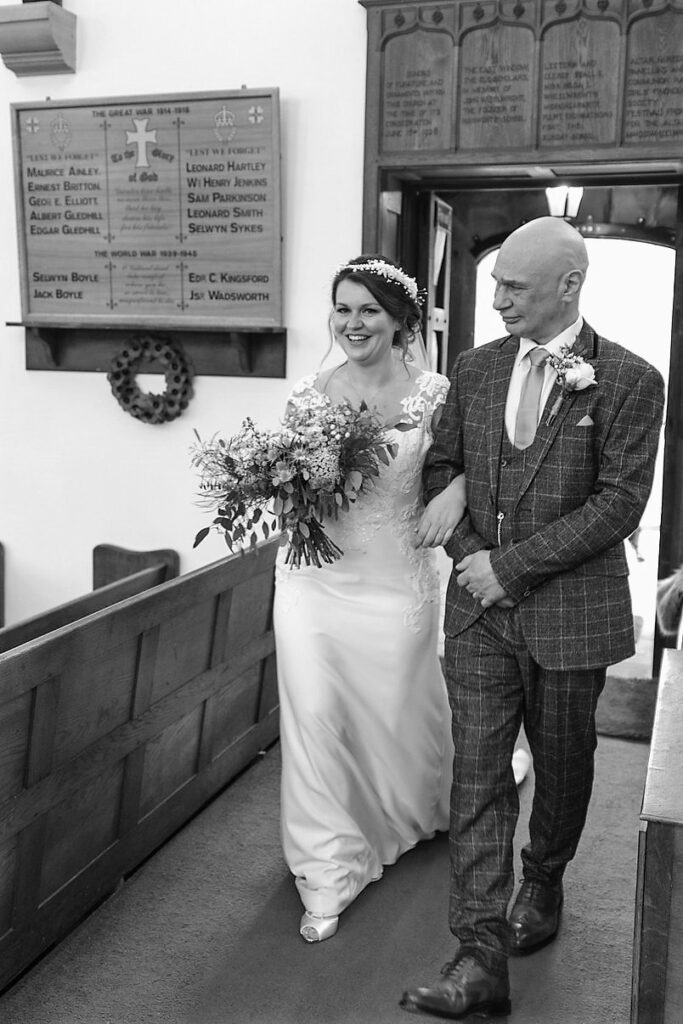 father of bride daughter enter st johns church rishworth sowerby bridge oxford wedding photography